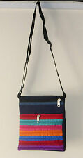 Denim Cotton Rainbow Zip Small Shoulder Bag with Adjustable Strap
