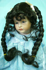 Monique - RUBY Doll Wig Size 12-13 - DARK BROWN - Long PIGTAIL BRAIDS & Tendrils