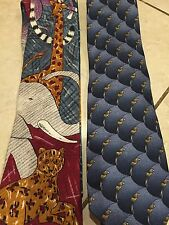 2 Mens Ties Pediatrician Veterinarian Novelty  Nature Conservation Animals Lot