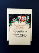 Unused Art Deco Xmas Greeting Card Hand Colored Old Fashioned Holiday Flowers