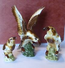 (3) Bone China Hawk Family Miniatures Japan