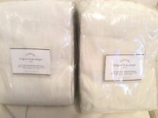 Pottery Barn Two (2) Belgian Flax Linen Drapes Ivory 50x108 Blackout Lining