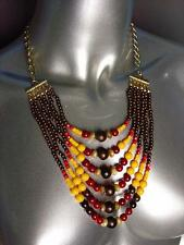 Urban Anthropologie Multicolor Faux Stone Wood Beads Necklace Earrings Set