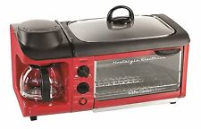 3 In 1 Breakfast Station Toaster Oven Griddle Coffee Maker Retro Mini Kitchen
