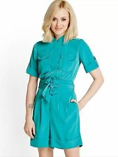 NEW FEARNE COTTON TURQUOISE BLUE BELTED SHORTS PLAYSUIT SIZE UK 14