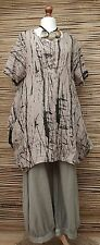 """LAGENLOOK LINEN BALLOON QUIRKY PRINT 2 POCKETS LONG TUNIC**BEIGE**BUST UP TO 46"""""""