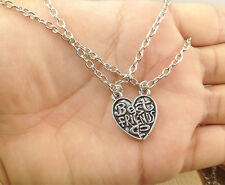 Best Friends  Heart Necklace Pendant Set of 2pcs necklaces  silver BFF