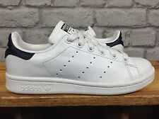 ADIDAS UK 4 EU 36 2/3 STAN SMITH WHITE LEATHER NAVY HEEL TRAINERS RRP £66.99