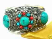 Tibet Silver turquoise Coral Beads Cuff bracelet AAA+RT