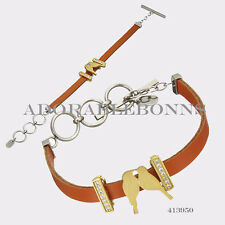 "Authentic Lori Bonn The Match Made In Heaven Charm Leather Bracelet 8""  413950"