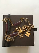 Louis Vuitton Gold Purple Sautoir Vert Inclusion Monogram Gamble Necklace Chain