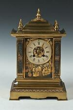 GEORGIAN-STYLE BRASS CHINOISERIE MANTLE CLOCK, Marked 1068 to the c... Lot 1096A