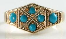 DIVINE 9K 9CT GOLD ART DECO INS TURQUOISE HEAXAGON FACE RING FREE RESIZE