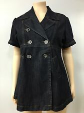 Ashley Stewart Women Denim Jacket - Top - Dress Short Sleeve Cotton blend Sz 18