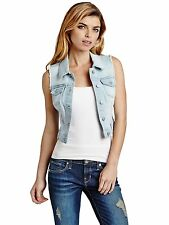 Guess Womens Vest Denim Cropped Denim Vest w- Frayed Detailing L Light Wash NWT