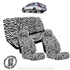 WHITE & BLACK ZEBRA ANIMAL PRINT LOW BACK SEAT COVERS 11PC SET FOR CARS 1113