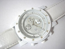Iced Out Bling Bling Big Case Leather Band Men's Watch White Item 3253