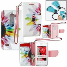 Flower PU Leather Wallet Pouch Credit Card Case Flip Cover for LG Volt 2 LS751