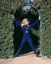 SHARON TATE 11X14 PHOTO BLUE JUMPSUIT BOOTS IN ARCHWAY