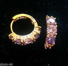 M19. Multi colour amethyst, 18k yellow gold gf huggie hoop earrings 5x15mm Boxed