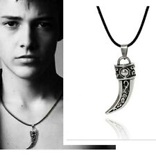Stainless Steel Men Retro Titanium Wolf Tooth Pendant leather Necklace