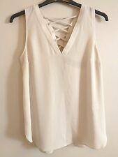 River Island Lattice Back Blouse Top 14 BNWT RRP £28 Light Grey UK FREEPOST