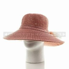 Women Summer Fashion Pink Straw Bucket Hat Ladies Fitted Beach Sun Visor Hat