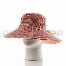 Women Summer Fashion Pink Straw Bucket Hat Ladies Fitted Beach Sun Visor Hat