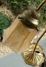 VINTAGE ~ L&L WMC ~ Lotus Leaf/Lilly Pad ~ Table Lamp w/Champagne Frosted Shade