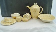 SUSIE COOPER FALCON SHAPE PINK STARS PART BREAKFAST SET 1930s TOASTRACK EGG CUP