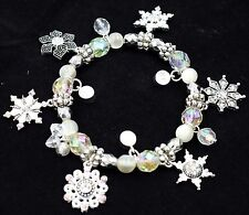 XMAS Snowflake Beaded Charm Stretchy Bracelet Silver Crystal Holiday Gift BD24