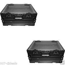 2x All Black DJ TURNTABLE FLIGHT ROAD READY CASES 1200 STYLE CLUB STAGE BATTLE