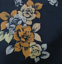 Japanese vintage kimono silk fabric Roses on Blue