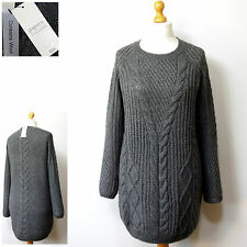 New WOOL Blend LONG Chunky Knit JUMPER by PAPAYA ~ Size M ~ GREY (rrp £25)