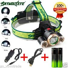 9000Lm 3x XML T6+2R5 LED Headlamp Head Light Torch USB Rechargeable Lamp+Charger