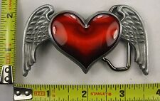HEART W/ WINGS BELT BUCKLE RED LOVE FREE S/H NEW B125
