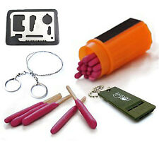 Wholesale Lot Outdoor Survival Kit Whistle Wire Saw+Knife Card Windproof Matches