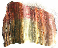 Banded Onyx Slab - Red - White - Green - 250 Grams - Mexico - End Cut