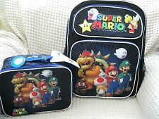 "Super Mario Brothers+Friends Large School Backpack 14"" With Insulated Lunch Box!"