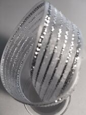 Gift Wrapping Ribbon Organza with Satin Edge White/SILVER, 7/8""