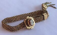 ANTIQUE GOLD FILLED VICTORIAN MESH CAMEO SLIDE BRACELET WITH FRINGE TASSEL