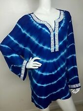 INC International Concepts Woman New Goddess Blue Tie-Dyed Beaded Top 20W NWT