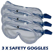 3 X SAFETY GOGGLES EYE PROTECTION GLASSES WORK INDUSTRIAL CLEAR LABORATORY U24