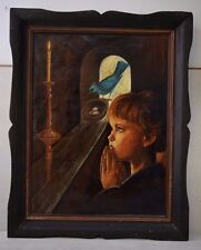 Vintage Collectible Huge Oil Painting Praying Girl The Blue Bird in Wooden Frame