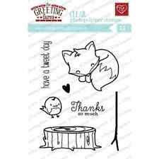 CUDDLY THANKS STAMP-The Greeting Farm Clear Art/Acrylic-Stamping Craft-Fox/Bird