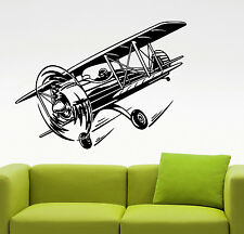 Airplane Biplane Wall Decal Vintage Aviation Art Vinyl Sticker Room Decor 8aiz