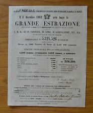 ANTICO DOCUMENTO GRANDE ESTRAZIONE DEL 1 DICEMBRE 1862 PRESTITO A PREMI