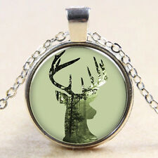 Christmas deer head Cabochon Silver plated Glass Chain   Pendant Necklace  M06