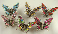 Wholesale 3pcs butterfly claw Crystal alloy Rhinestone Hair Clip Jaw Hairpin d8v