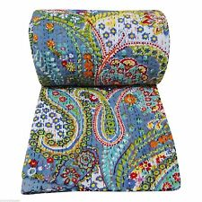 Indian handmade Patch work Double size Ralli kantha quilt Bedspread Blanket a44